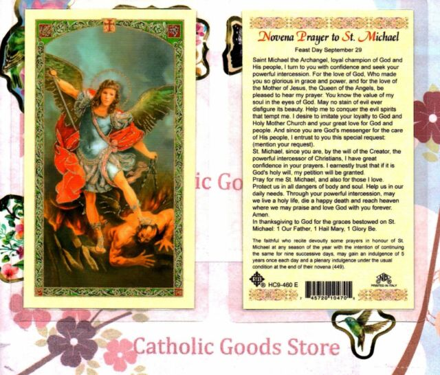 Novena Prayer to St  Saint Michael The Archangel - Laminated Holy Card