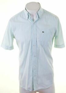 LACOSTE-Mens-Shirt-Short-Sleeve-Size-40-Medium-Turquoise-Striped-Cotton-GN06