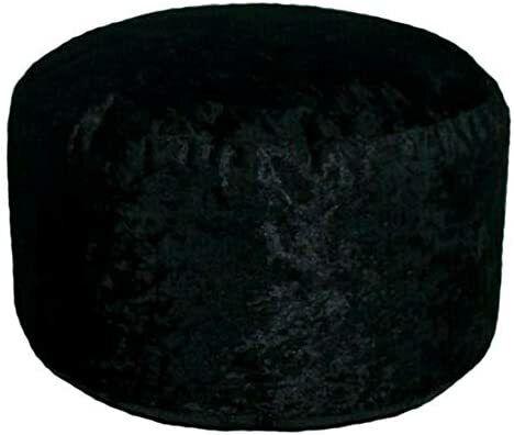 Black Crushed Velvet Modern Fully Filled Bean Bag Pouffe Footstool 45cm x 25cm