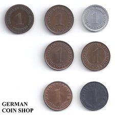 7 x 1 Pfennig - Set alle Pfennige von 1873 - 1945 - Deutsches Reich