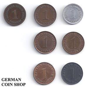 7 X 1 Pfennig - Lot Tous Pfennige De 1873 - 1945 - Reich Allemand Produire Un Effet Vers Une Vision Claire