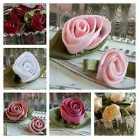 10 x Satin Ribbon Roses with Leaves Pink Rose White Red Wedding Invite Flower