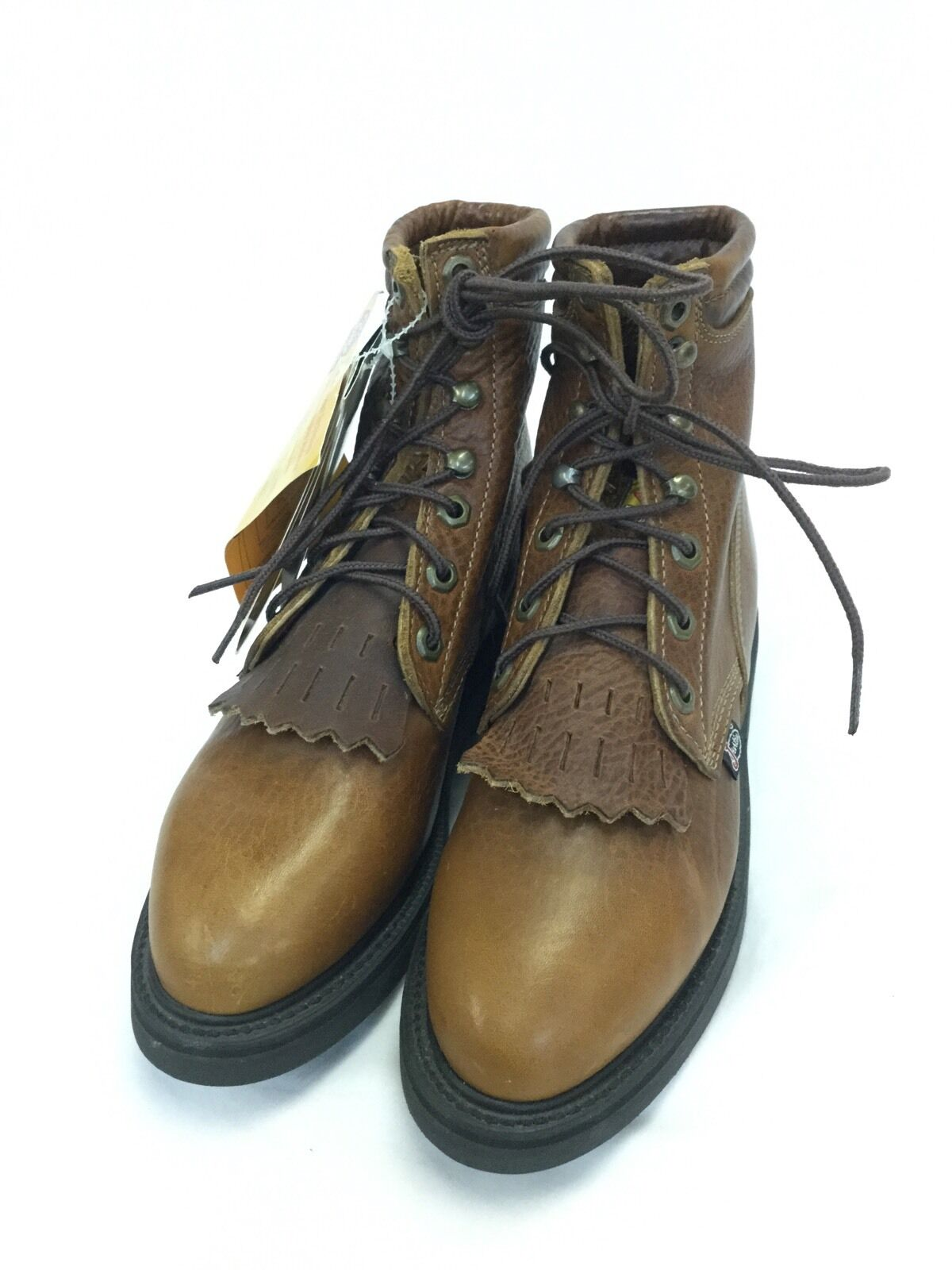 Wouomo Justin Ladies Lace-up Workstivali, Marroneee Style L770