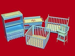 Details About 5 Pc Set 1964 Eldon Baby Joy Furniture   Blue Crib High Chair  Playpen Plus More!