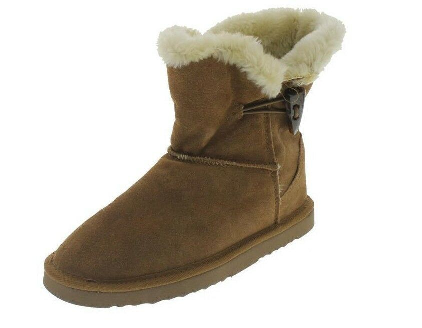 New STYLE & CO Women Suede Fur Snow Winter Ankle Flat Pull On Boot Shoe