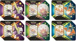 Pokemon TCG Shining Fates Eldegoss, Boltund Cramorant Tins Sealed Case of 6 Tins