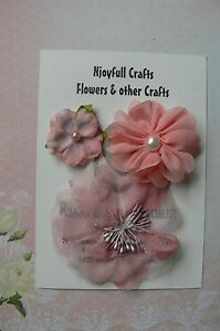 HANDMADE-3-Flower-Mix-PEACH-Lace-Organza-35-55-amp-80mm-NjoyfullCrafts