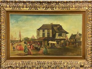 Oil Painting on Artist Board Dutch Village Scene Signed Wood Picture Frame