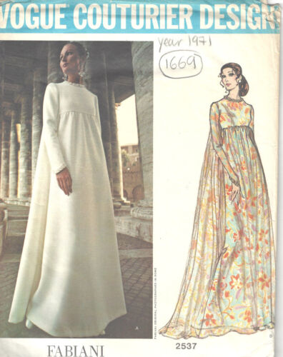 Fabiani of Italy 1669 1971 Vintage VOGUE Sewing Pattern B36 EVENING DRESS