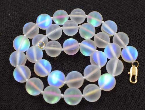 """Blanc Pierre De Lune Quartz Floue 12 mm Ronde Collier 18/"""" en Gros Perles Nature"""