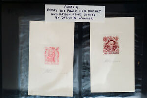 Austria-Stamp-Essay-Die-Proofs-Mozart-and-Haydn-Issues-Signed-by-Artist