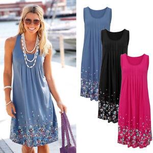 56054e5549 Image is loading 2019-Womens-Boho-Floral-Sleeveless-Summer-Beach-Loose-