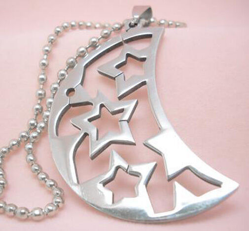 B174 Moon Star Stainless Steel Pendant 60CM Iron/Stainless Steel Chain You Pick