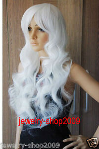 New-wig-Cosplay-Long-Curly-White-with-Bang-Womens-Wig