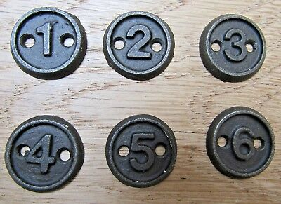 Home Organization Intellective Numbered Discs 1-6 Set Cast Iron Plaques Numbers Arts Crafts Furniture Bringing More Convenience To The People In Their Daily Life Household Supplies & Cleaning