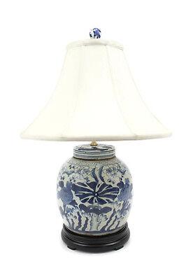 "Beautiful Blue and White Porcelain Landscape Blue Willow Temple Jar 15/"""