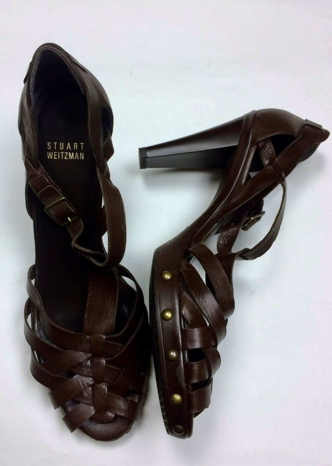 presa Stuart Weitzman 10 Marrone Woven Leather Open Toe Toe Toe Strappy scarpe High Heel Sandals  moda