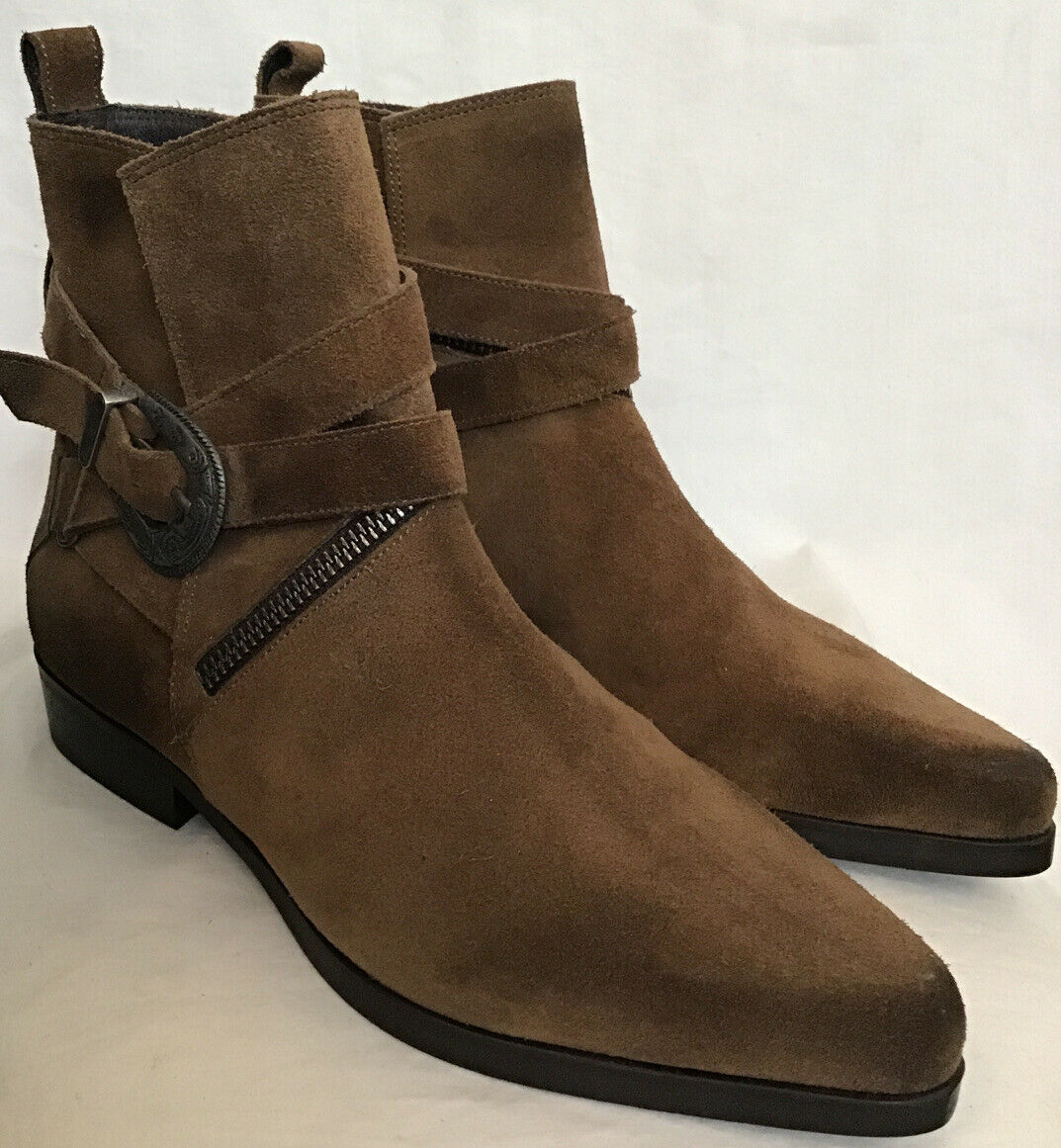 all saints Suede Ankle Boot Brown Pointed Toe Silver Buckle Zipper Size 37