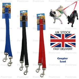Reflective-Double-Ended-Dog-Pet-Lead-Sp-litter-Coupler-Clip-for-Collar-Harness