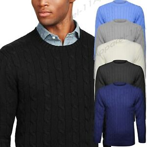 Mens-Knitted-Crew-Round-Neck-Plain-Classic-Chunky-Cable-Knitwear-Jumper-Sweater