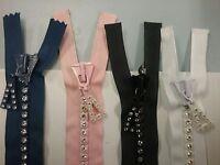 14 Rhinestone Zipper - Full Separating - Black White Pink Blue
