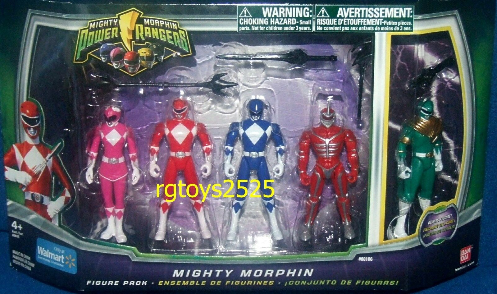 Mighty Morphin Power Ranger Set Red Pink bluee Green 4  Ranger New Lord Zedd 2010