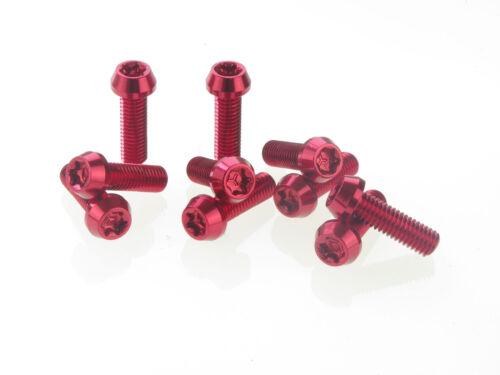 10 Stück Aluminium Schrauben 7075er M6x16 mit T25 Torx Aluschrauben rot