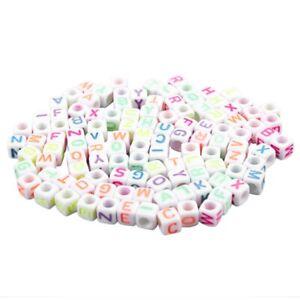 Perline-Lettera-100-Pezzi-Multicolore-Loom-Bandz-Dadi-Bracciale-T3N7