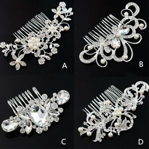 Women-Wedding-Bride-Bling-Rhinestone-Crystal-Pearl-Hair-Comb-head-piece-Pin-Clip