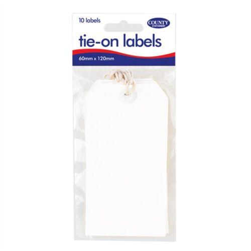 Comté de la papeterie à nouer sur les étiquettes-Blanc 10 x 12 Packs-Pack