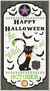 Halloween-Black-Cat-Bat-Cotton-Fabric-Wilmington-Every-Witch-Way-24-034-X44-034-PANEL
