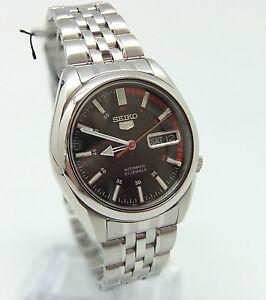 Men-039-s-Seiko-5-Auto-wrist-watch-see-through-back-box-amp-paperwork-new-condition