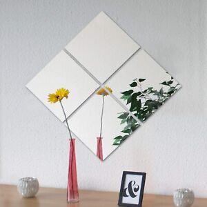 Set de 4 espejos cuadrado redondo adhesivos 30X30 y 20x20 lote decoración hogar