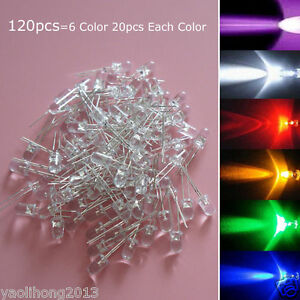 120pcs White Red Blue Green Yellow Purple 5mm LED Light Bulb Emitting Diode Lamp