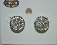 $38 Fossil Brand Cage Silver-tone Women's Stud Earrings Silk & Crystal Jf01590