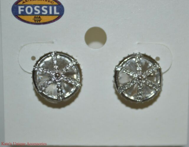 38 Fossil Brand Cage Silver Tone Women S Stud Earrings Silk Crystal Jf01590