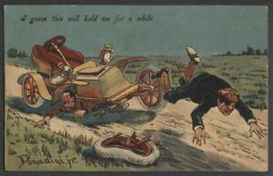 c-1906-05-DONADINI-JR-Artist-Signed-Postcard-AUTOMOBILE-CRASHES-LOSES-WHEEL