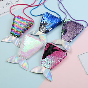 37341361c1 Image is loading Kids-Fashion-Mermaid-Tail-Shape-Sequins-Mini-Shoulder-
