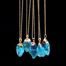 Natural Cut Blue Crystal Quartz Healing Point Chakra Bead Gemstone Necklace AQUA