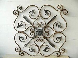 Pannello artistico in ferro battuto con foglie e fiori per for Decorazioni in ferro battuto