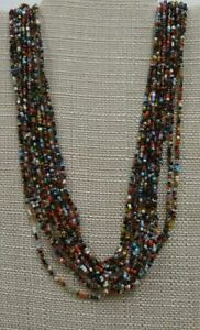 LOVE-BEADS-hippie-peace-Rainbow-colorful-seed-bead-Necklace-trend-60-039-s-12-strand