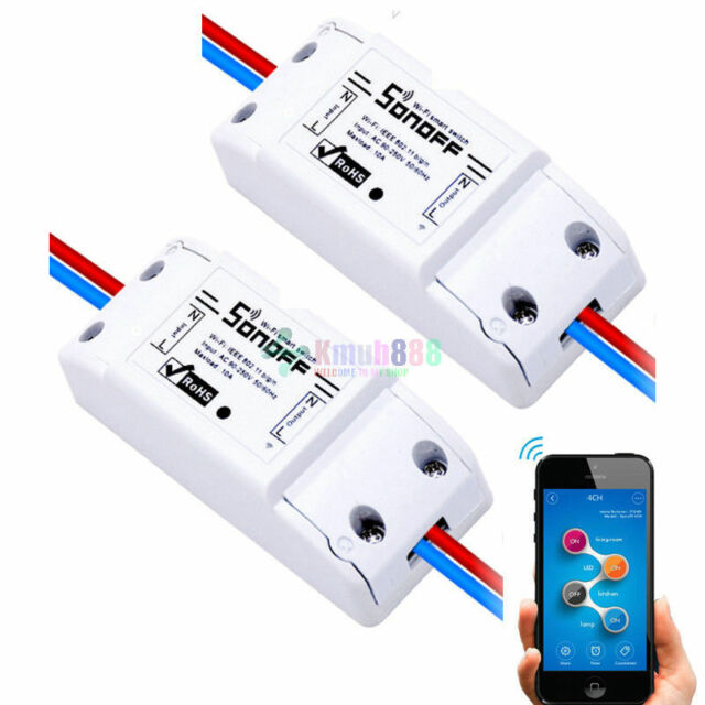 a25b40a2f46 2X -KG18 Sonoff WiFi Wireless Smart Switch Module ABS Shell Socket For DIY  Home