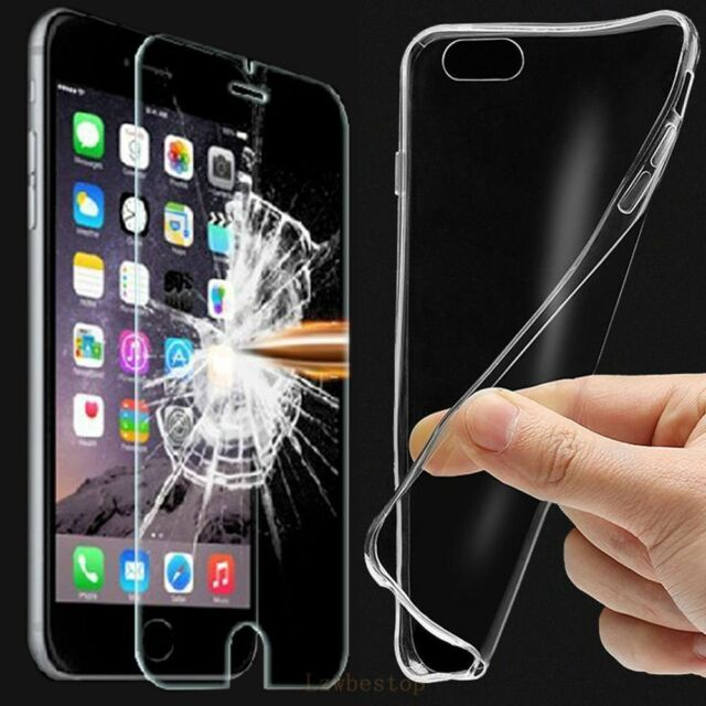 Clear TPU Case Cover + Tempered Glass Screen Protector For iphone Samsung phone
