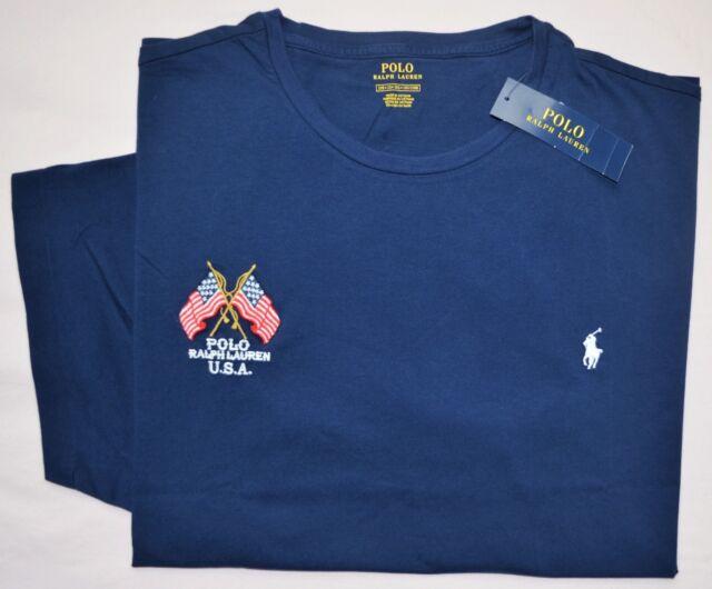 New 2XLT 2XL TALL Polo Ralph Lauren Mens American Flag T-shirt Tee US blue