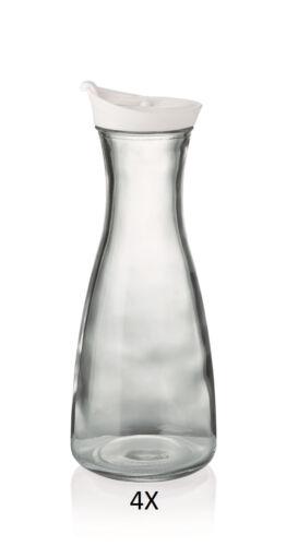 4X Karaffe Ø oben//unten 6,7 x 10,0 cm Farbe weiß mit Deckel Inhalt 1,00 ltr