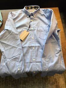 New-Authentic-BURBERRY-Fred-Neck-amp-Cuffs-Plaid-Nova-Check-Men-Blue-Shirt-M