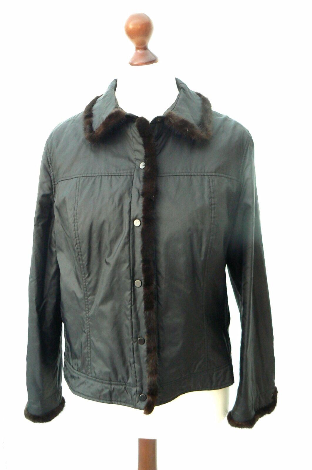 Aust Designer Jacke superleichte Übergangsjacke Fellbesatz Nerz Gr. 42