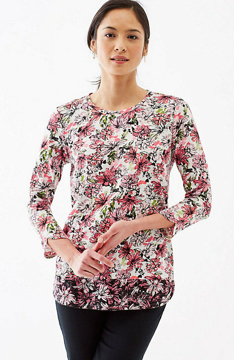 J. Jill - XL(18 20) - GORGEOUS POMEGRANATE SKETCHED FLORAL COTTON TEE - NWT