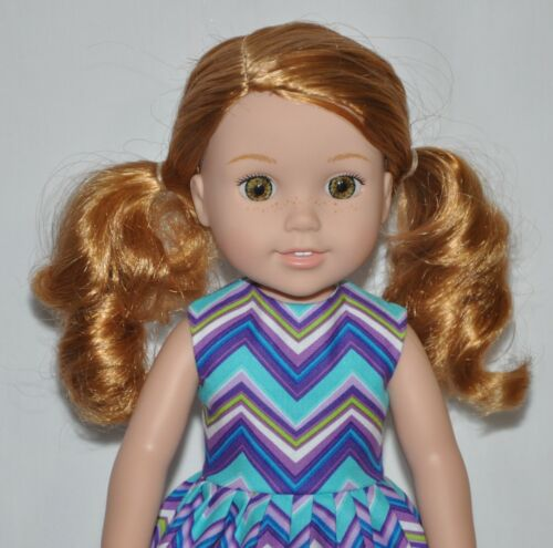 Blue Ric Rac Doll Dress Clothes Fits American Girl Wellie Wisher Dolls