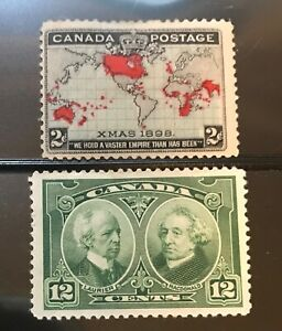 CANADA-postage-stamps-lot-of-2-old-xmas-1898-Laurier-MacDonald-mint-hinged